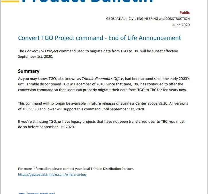 TGO Project Converter- End of Life Announcement