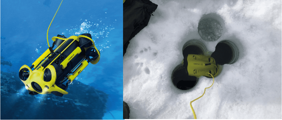 Underwater Inspections Using Chasing Submersible Drones